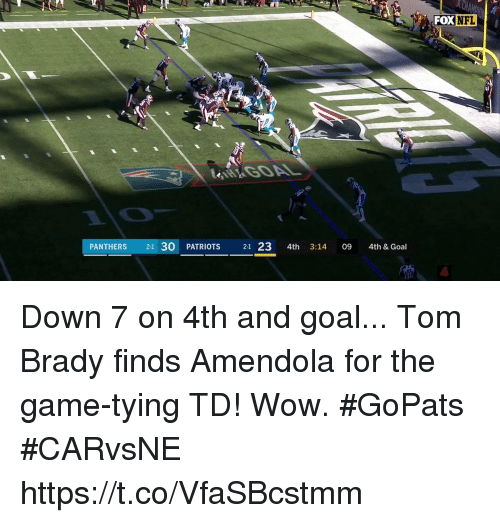 Memes, Nfl, and Patriotic: FOX  NFL  PANTHERS 21 30 PATRIOTS 21 23 4th 3:14 09 4th & Goal Down 7 on 4th and goal...  Tom Brady finds Amendola for the game-tying TD! Wow. #GoPats #CARvsNE https://t.co/VfaSBcstmm