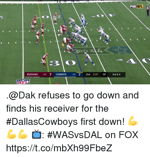 receiver: FOX NFL  RD &L  REDSKINS 64 7 COWBOYS 5-5 7 2nd 2:37 09 3rd& 4  NFL .@Dak refuses to go down and finds his receiver for the #DallasCowboys first down! 💪💪💪  📺: #WASvsDAL on FOX https://t.co/mbXh99FbeZ