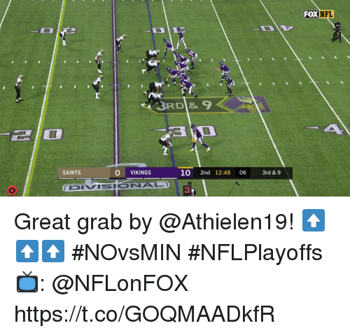 Memes, Nfl, and New Orleans Saints: FOX  NFL  SAINTS  O VIKINGS  10 2nd 12:48 06 3rd& 9  4N Great grab by @Athielen19! ⬆️⬆️⬆️  #NOvsMIN #NFLPlayoffs  📺: @NFLonFOX https://t.co/GOQMAADkfR