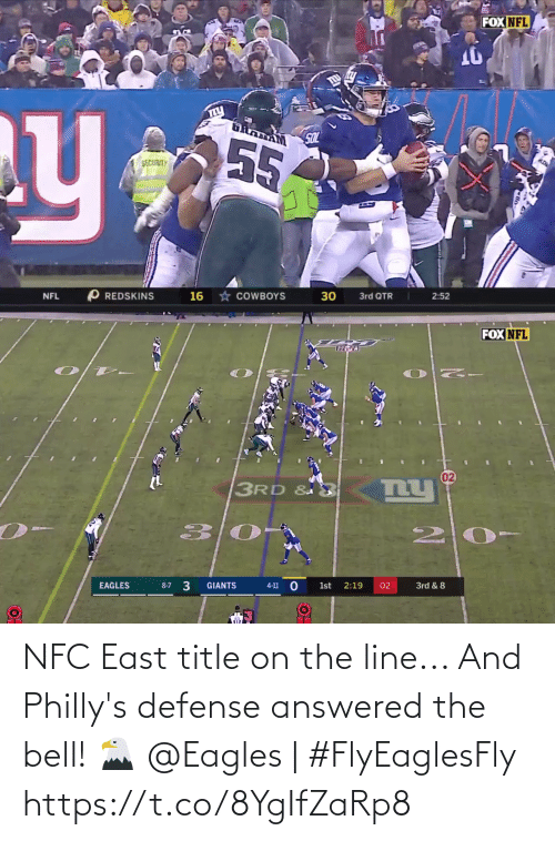 nfc east: FOX NFL  SOL  55  SECURITY  * COWBOYS  O REDSKINS  16  NFL  3rd QTR  2:52   FOX NFL  02  3RD &  EAGLES  GIANTS  2:19  1st  02  3rd & 8  8-7  4-11 NFC East title on the line...   And Philly's defense answered the bell! 🦅   @Eagles | #FlyEaglesFly https://t.co/8YgIfZaRp8