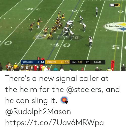 Signal: FOX NFL  SteelorS  1sTie 0  4/0  1-0 14  01 10  SEAHAWKS  STEELERS  3rd  1st & 10  9:05  07  BA 38 85 There's a new signal caller at the helm for the @steelers, and he can sling it. 🎯  @Rudolph2Mason https://t.co/7Uav6MRWpa