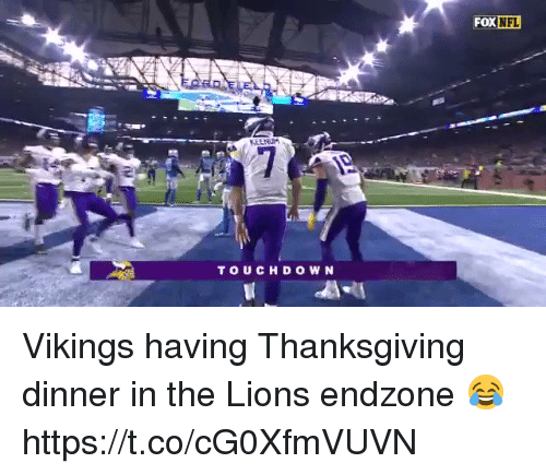 Football, Nfl, and Sports: FOX NFL  TOUCH DOWN Vikings having Thanksgiving dinner in the Lions endzone 😂 https://t.co/cG0XfmVUVN