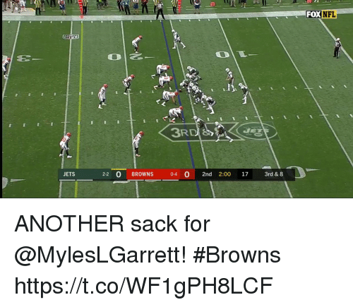 Memes, Nfl, and Browns: FOX  NFL  VET  JETS  2-2 O BROWNS 0-4 0 2nd 2:00 17 3rd & 8 ANOTHER sack for @MylesLGarrett! #Browns https://t.co/WF1gPH8LCF
