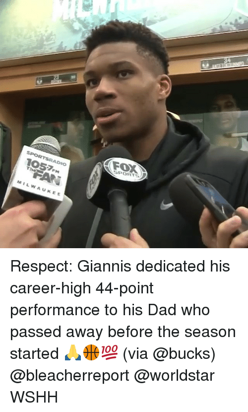 Dad, Memes, and Respect: FOX  SPORTS  1057m  MILWAUKEE Respect: Giannis dedicated his career-high 44-point performance to his Dad who passed away before the season started 🙏🏀💯 (via @bucks) @bleacherreport @worldstar WSHH