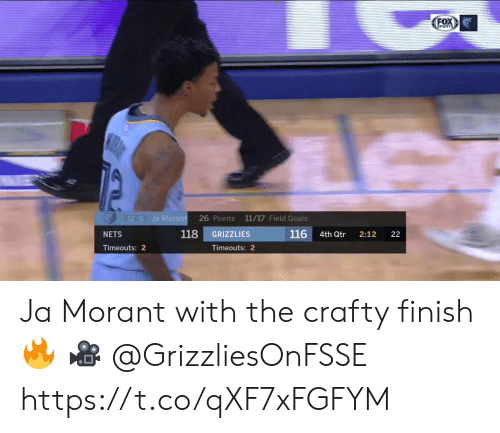 Nets: FOX  SPORTS  12 G  Ja Morant  26 Points 11/17 Field Goals  118  116  GRIZZLIES  NETS  4th Qtr  2:12  22  Timeouts: 2  Timeouts: 2 Ja Morant with the crafty finish🔥  🎥 @GrizzliesOnFSSE  https://t.co/qXF7xFGFYM