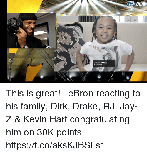 Drake, Family, and Jay: FOX  SPORTS  ZHURI JAMES  DAUGHTER This is great! LeBron reacting to his family, Dirk, Drake, RJ, Jay-Z & Kevin Hart congratulating him on 30K points.  https://t.co/aksKJBSLs1