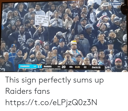 Raiders: FOX TWORK  IMISSED M  COURT DATE  TO SEE THIS  GAME  SWOOPIN  2nd & 15  22  8:20  4-4 20  4th  ER  4-5 17 RAIDERS  CHARGERS This sign perfectly sums up Raiders fans https://t.co/eLPjzQ0z3N