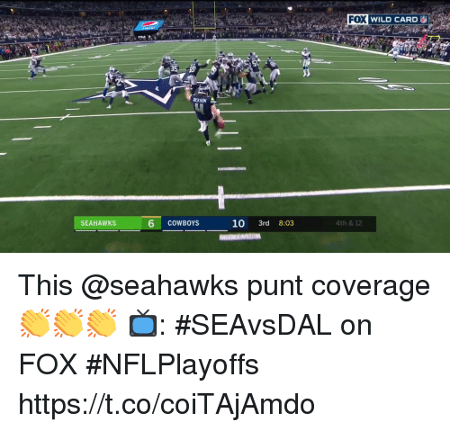 punt: FOX WILD CARD  20  SEAHAWKS  6 COWBOYS  10 3rd 8:03  4th & 12 This @seahawks punt coverage 👏👏👏  📺: #SEAvsDAL on FOX #NFLPlayoffs https://t.co/coiTAjAmdo