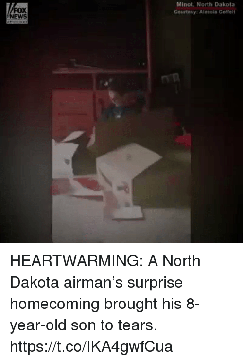Memes, Old, and 🤖: FOX  WS  Minot, North Dakota  Courtesy: Aleecla Coffelt HEARTWARMING: A North Dakota airman's surprise homecoming brought his 8-year-old son to tears. https://t.co/IKA4gwfCua