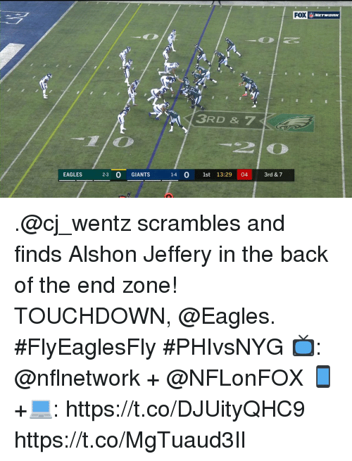 Philadelphia Eagles, Memes, and Alshon Jeffery: FOX  XNETWORK  3RD & 7  -  EAGLES 3 0 GIANTS  14 0 1st 13:29 04 3rd & 7 .@cj_wentz scrambles and finds Alshon Jeffery in the back of the end zone!  TOUCHDOWN, @Eagles. #FlyEaglesFly #PHIvsNYG  📺: @nflnetwork + @NFLonFOX 📱+💻: https://t.co/DJUityQHC9 https://t.co/MgTuaud3Il