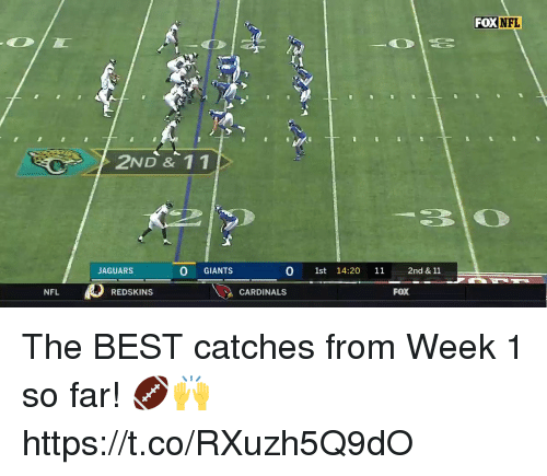 Memes, Nfl, and Washington Redskins: FOXNEL  2ND & 1 1  -310  JAGUARS  0 GIANTS  0 1st 14:20 11 2nd & 11  NFL  REDSKINS  CARDINALS  FOX The BEST catches from Week 1 so far! 🏈🙌 https://t.co/RXuzh5Q9dO