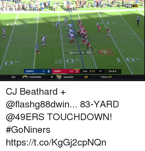 San Francisco 49ers, Memes, and Nfl: FOXNEL  3RD &8  GIANTS  1-7 6 49ERS  0-9 3 2nd 8:13 07 3rd & 8  NFL  CHARGERS  17  JAGUARS  20  FINAL/OT CJ Beathard + @flashg88dwin...  83-YARD @49ERS TOUCHDOWN! #GoNiners https://t.co/KgGj2cpNQn