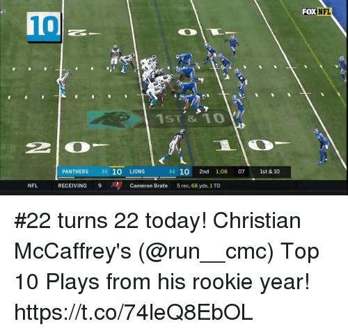 Memes, Nfl, and Run: FOXNFL  10  LO  ji  1ST1o  PANTHERS 3-1 10 LIONS  3-1 10 2nd 1:06 07 1st &10  NFL  RECEIVING 9  Cameron Brate  5 rec, 68 yds, 1 TD #22 turns 22 today!  Christian McCaffrey's (@run__cmc) Top 10 Plays from his rookie year! https://t.co/74leQ8EbOL