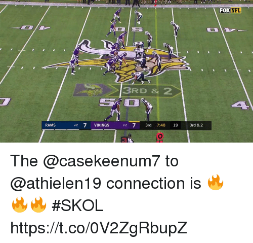 Memes, Rams, and Vikings: FOXNFL  3RD & 2  RAMS  72 7 VIKINGS 72 7 3rd 7:48 19 3rd &2 The @casekeenum7 to @athielen19 connection is 🔥🔥🔥 #SKOL https://t.co/0V2ZgRbupZ