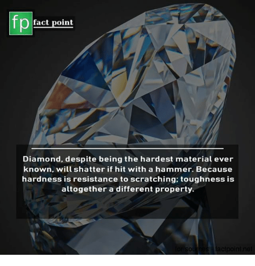 Memes, Diamond, and 🤖: fp  fact point  Diamond, despite being the hardest material ever  known, will shatter if hit with a hammer. Because  hardness is resistance to scratching: toughness is  altogether a different property.  s·lacipoint.nel