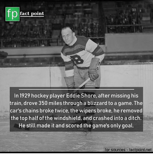 Cars, Hockey, and Memes: fp  fact point  In 1929 hockey player Eddie Shore, after missing his  train, drove 350 miles through a blizzard to a game. The  car's chains broke twice, the wipers broke, he removed  the top half of the windshield, and crashed into a ditch  He still made it and scored the game's only goal.  for sources factpoint.net