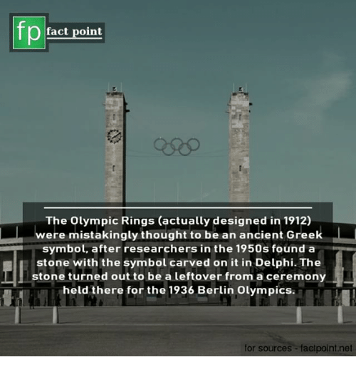 Memes, Ancient, and Greek: fp  fact point  The Olympic Rings (actually designed in 1912)  were mistakingly thought to be an ancient Greek  symbol, after researchers in the 1950s founda  stone with the symbol carved on it in Delphi. The  stone turned out to be a leftover from a ceremony  held there for the 1936 Berlin Olympics  for sources -factpoint.net
