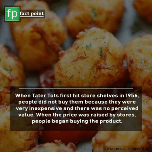 Memes, 🤖, and Did: fp  fact point  When Tater Tots first hit store shelves in 1956,  people did not buy them because they were  very inexpensive and there was no perceived  value. When the price was raised by stores,  people began buying the product.  or sources- faclpo