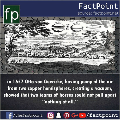 "Horses, Memes, and Vacuum: fp  FactPoint  source: factpoint.net  in 1657 0tto von Guericke, having pumped the air  from two copper hemispheres, creating a vacuum  showed that two teams of horses could not pull apart  ""nothing at all."""