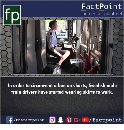 Memes, Work, and Train: fp  FactPoint  source: factpoint.net  In order to circumvent a ban on shorts, Swedish male  train drivers have started wearing skirts to work.  /thefactpoint C  actpoint