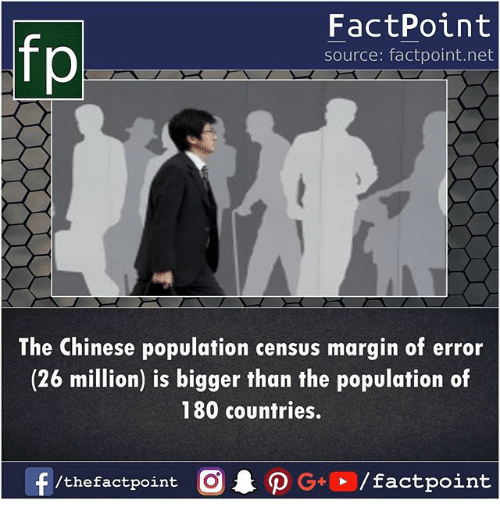 Memes, Chinese, and 🤖: fp  FactPoint  source: factpoint.net  The Chinese population census margin of error  (26 million) is bigger than the population of  180 countries.