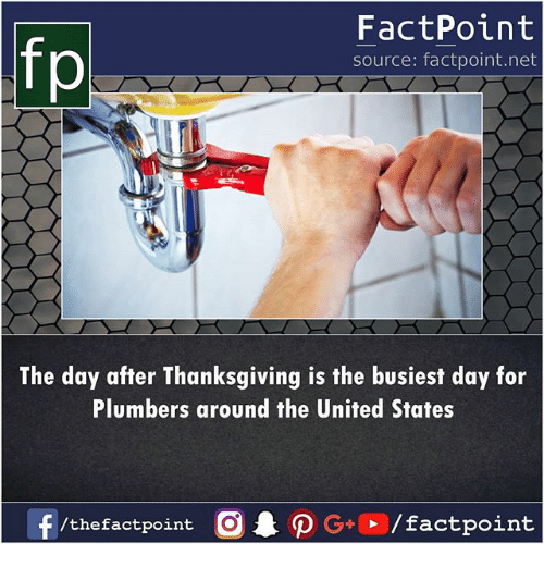 After Thanksgiving: fp  FactPoint  source: factpoint.net  The day after Thanksgiving is the busiest day for  Plumbers around the United States  f  AO G+ / factpoint  /thefactpoint O