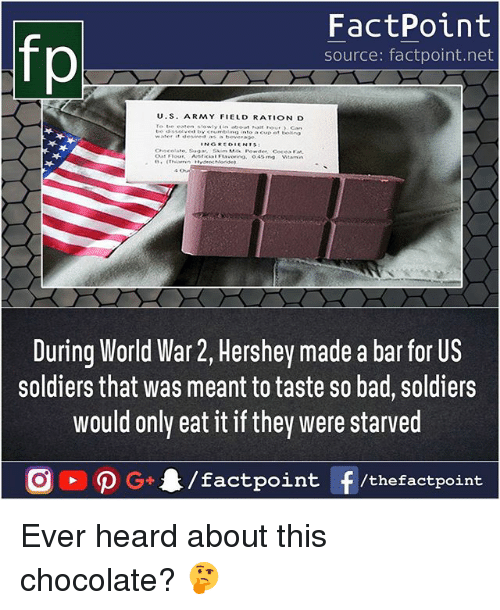rationalization: fp  FactPoint  source: factpoint.net  U.S. ARMY FIELD RATION D  During World War 2, Hershey made a bar for US  soldiers that was meant to taste so bad, soldiers  would only eat it if they were starved Ever heard about this chocolate? 🤔