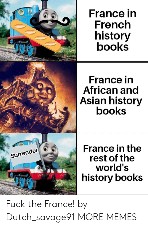 Dutch Language: France in  French  history  books  France in  African and  Asian history  books  France in the  rest of the  world's  history books  Surrender Fuck the France! by Dutch_savage91 MORE MEMES