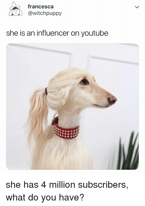 youtube.com, Relatable, and She: francesca  @witchpuppy  she is an influencer on youtube she has 4 million subscribers, what do you have?