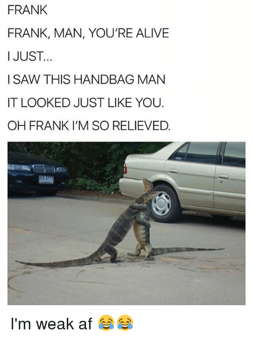 Af, Alive, and Funny: FRANK  FRANK, MAN, YOU'RE ALIVE  I JUST...  I SAW THIS HANDBAG MANN  IT LOOKED JUST LIKE YOU  OH FRANK I'M SO RELIEVED I'm weak af 😂😂