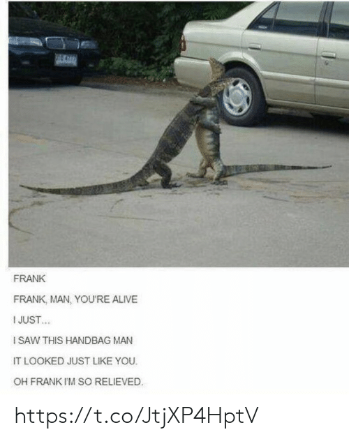 handbag: FRANK  FRANK, MAN, YOU'RE ALIVE  I JUST  ISAW THIS HANDBAG MAN  IT LOOKED JUST LIKE YOU  OH FRANK I'M SO RELIEVED https://t.co/JtjXP4HptV