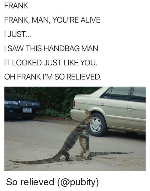 Memes, Saw, and 🤖: FRANK  FRANK, MAN, YOU'RE ALIVIE  I JUST  I SAW THIS HANDBAG MAN  IT LOOKED JUST LIKE YOU.  OH FRANK I'M SO RELIEVED. So relieved (@pubity)