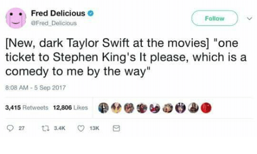 """Swifting: Fred Delicious .  @Fred Delicious  Follow )  [New, dark Taylor Swift at the movies] """"one  ticket to Stephen King's It please, which is a  comedy to me by the way""""  8:08 AM-5 Sep 2017  3,415 Retweets 12,806 Likes  ●@簖搴ソ8e.ae"""