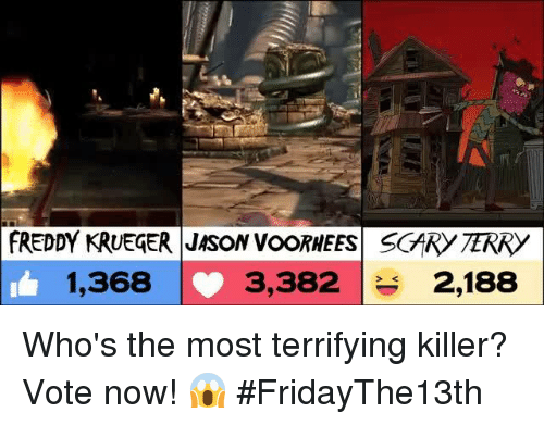 Freddy Krueger: FREDDY KRUEGER JASON VooRHEES SGARY TERRY  1,368  3,382  2,188 Who's the most terrifying killer? Vote now! 😱 #FridayThe13th