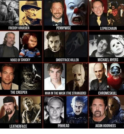 Freddy Krueger: FREDDY KRUEGER  VOICE OF CHUCKY  THE CREEPER  LEATHER FACE  PENNYWISE  GHOSTFACE KILLER  MAN IN THE MASK [THE STRANGERS)  PINHEAD  LEPRECHAUN  MICHAEL MYERS  CHROMESKULL  JASON VOORHEES