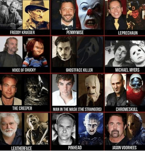 Freddy Krueger: FREDDY KRUEGER  VOICE OF CHUCKY  THE CREEPER  LEATHERFACE  PENNYWISE  GHOSTFACE KILLER  MAN IN THE MASK THESTRANGERS  PINHEAD  LEPRECHAUN  MICHAEL MYERS  CHROMESKULL  JASON VOORHEES