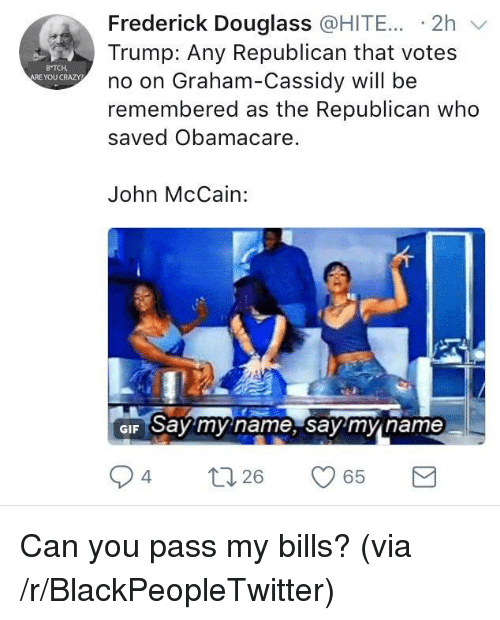 say my name: Frederick Douglass @HITE... -2h v  Trump: Any Republican that votes  no on Graham-Cassidy will be  remembered as the Republican who  saved Obamacare.  B TCH  ARE YOU CRAZY  John McCain:  GIF Say my name, say'mn name  94  26 <p>Can you pass my bills? (via /r/BlackPeopleTwitter)</p>
