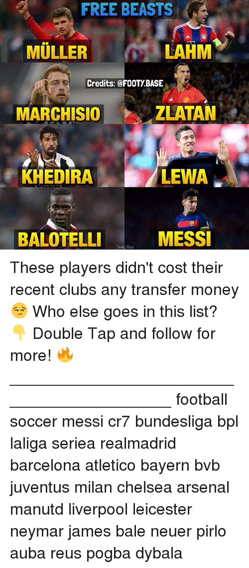 Marchisio: FREE BEASTS  MULLER  LAHM  Credits:@FOOTY BASE  MARCHISIO  ZLATAN  KHEDIRA  LEWA.  BALOTELLI  MESS These players didn't cost their recent clubs any transfer money 😏 Who else goes in this list? 👇 Double Tap and follow for more! 🔥 ___________________________________________ football soccer messi cr7 bundesliga bpl laliga seriea realmadrid barcelona atletico bayern bvb juventus milan chelsea arsenal manutd liverpool leicester neymar james bale neuer pirlo auba reus pogba dybala