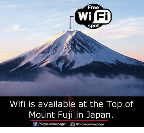 Wify: Free  Fi  spot  Wifi is available at the Top of  Mount Fuji in Japan.  /d.dyouknow page1舀@didyouknowpage  団