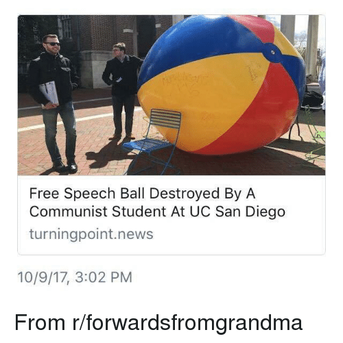 uc san diego: Free Speech Ball Destroyed By A  Communist Student At UC San Diego  turningpoint.news  10/9/17, 3:02 PM