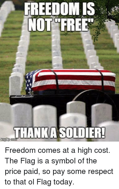 flags: FREEDOM IS  NOT FREE  THANKASOLDIER! Freedom comes at a high cost. The Flag is a symbol of the price paid, so pay some respect to that ol Flag today.
