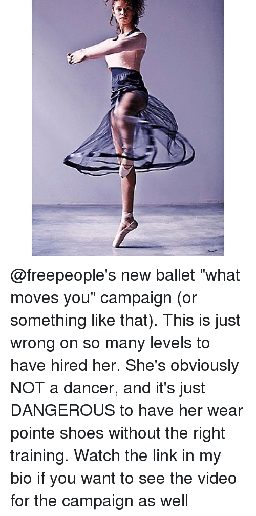 """pointe shoes: @freepeople's new ballet """"what moves you"""" campaign (or something like that). This is just wrong on so many levels to have hired her. She's obviously NOT a dancer, and it's just DANGEROUS to have her wear pointe shoes without the right training. Watch the link in my bio if you want to see the video for the campaign as well"""