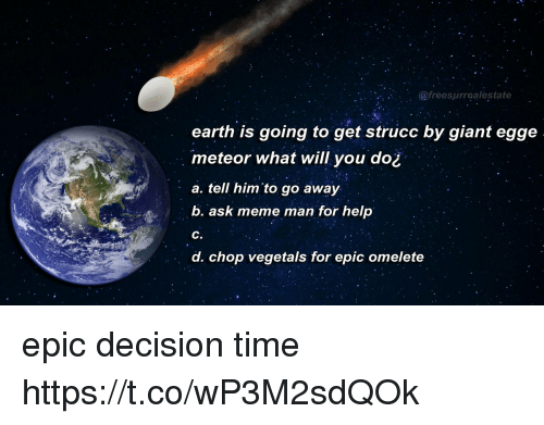 Vegetals: @freesurrealestate  earth is going to get strucc by giant egge  meteor what will you do¿  a. tell him'to go away  b. ask meme man for help  C.  d. chop vegetals for epic omelete epic decision time https://t.co/wP3M2sdQOk