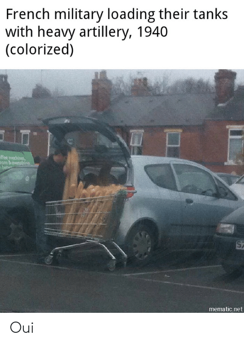 Colorized: French military loading their tanks  with heavy artillery, 1940  (colorized)  ffee machines  ans&everythino  bet  ST  mematic.net Oui