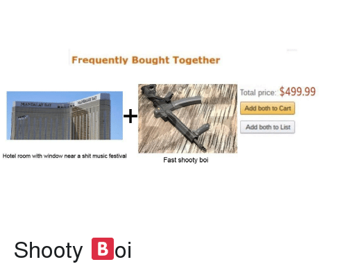 Music, Shit, and Hotel: Frequently Bought Together  Total price: $499.99  MANDALAY BAY  Add both to Cart  Add both to List  Hotel room with window near a shit music festival  Fast shooty boi