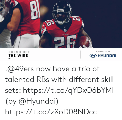 rbs: FRESH OFF  THE WIRE  PRESENTED BY  HYUNDAI .@49ers now have a trio of talented RBs with different skill sets: https://t.co/qYDxO6bYMI (by @Hyundai) https://t.co/zXoD08NDcc
