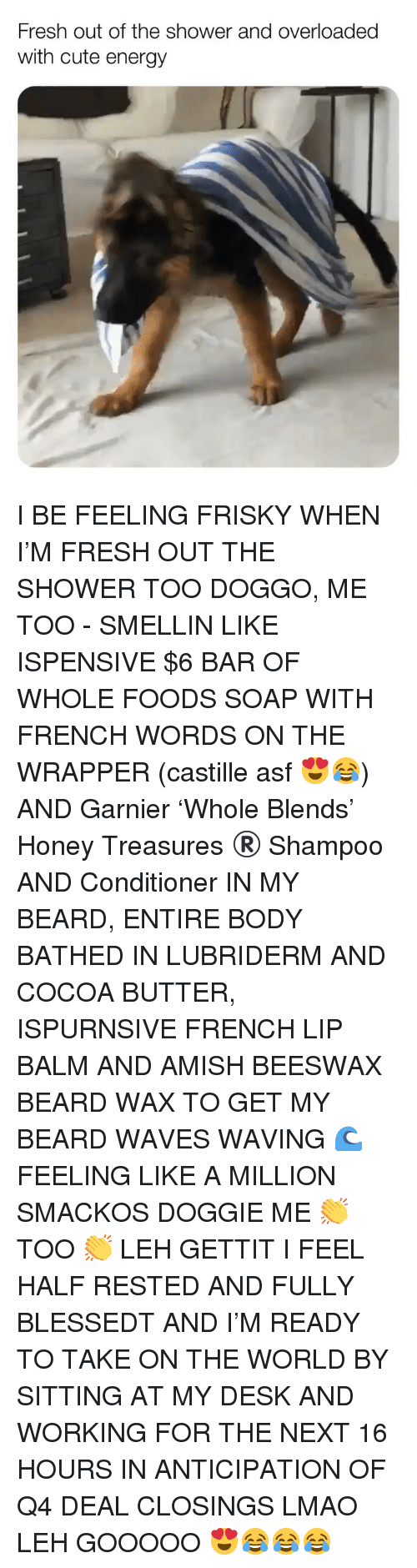 whole foods: Fresh out of the shower and overloaded  with cute energy I BE FEELING FRISKY WHEN I'M FRESH OUT THE SHOWER TOO DOGGO, ME TOO - SMELLIN LIKE ISPENSIVE $6 BAR OF WHOLE FOODS SOAP WITH FRENCH WORDS ON THE WRAPPER (castille asf 😍😂) AND Garnier 'Whole Blends' Honey Treasures ®️ Shampoo AND Conditioner IN MY BEARD, ENTIRE BODY BATHED IN LUBRIDERM AND COCOA BUTTER, ISPURNSIVE FRENCH LIP BALM AND AMISH BEESWAX BEARD WAX TO GET MY BEARD WAVES WAVING 🌊 FEELING LIKE A MILLION SMACKOS DOGGIE ME 👏 TOO 👏 LEH GETTIT I FEEL HALF RESTED AND FULLY BLESSEDT AND I'M READY TO TAKE ON THE WORLD BY SITTING AT MY DESK AND WORKING FOR THE NEXT 16 HOURS IN ANTICIPATION OF Q4 DEAL CLOSINGS LMAO LEH GOOOOO 😍😂😂😂