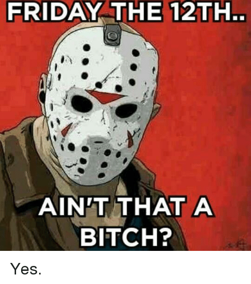Bitch, Friday, and Memes: FRIDAY THE 12TH.  AINT THAT A  BITCH? Yes.