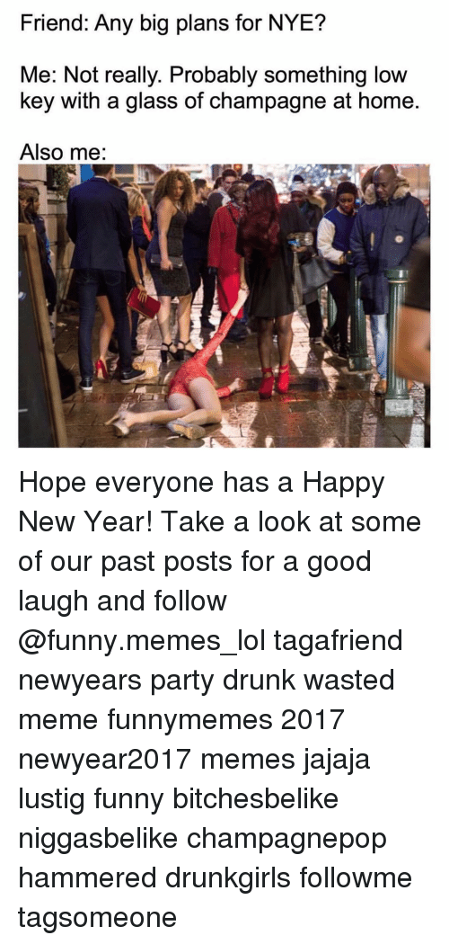 Wasted Meme: Friend: Any big plans for NYE?  Me: Not really. Probably something low  key with a glass of champagne at home  Also me: Hope everyone has a Happy New Year! Take a look at some of our past posts for a good laugh and follow @funny.memes_lol tagafriend newyears party drunk wasted meme funnymemes 2017 newyear2017 memes jajaja lustig funny bitchesbelike niggasbelike champagnepop hammered drunkgirls followme tagsomeone