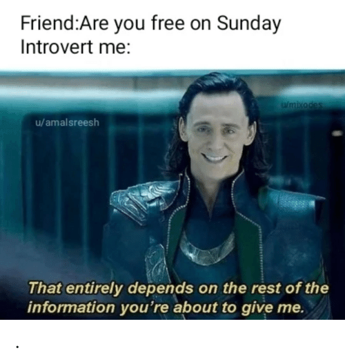 depends: Friend:Are you free on Sunday  Introvert me:  Wmixodes  u/amalsreesh  That entirely depends on the rest of the  information you're about to give me. .